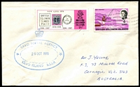 Lot 4635:Savo: double-oval 'SAVO POSTAL AGENCY/28OCT1970/SAVO ISLAND B.S.I.P.' on face of cover to Australia, stamps cancelled at Honiara.