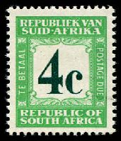 Lot 28319:1967-71wmk RSA SG #D62c 4c deep myrtle-green & emerald Afrikaans heading wmk 127, MUH, Cat £375.