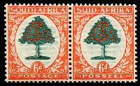 Lot 4382:1933-48 Pictorials SG #61 6d green & vermilion Die I horizontal pair, Cat £70.