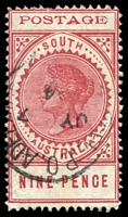 Lot 2054:1902-04 Thin 'POSTAGE' Perf 11½-12½ SG #273 9d rosy lake, Cat £10.