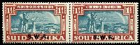 Lot 28456 [1 of 2]:1938 Opts on Voortrekker SG #109-10 1d & 1½d in pairs, Cat £38.