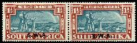 Lot 28455 [1 of 2]:1938 Opts on Voortrekker SG #109-10 1d & 1½d in pairs, Cat £38.