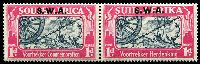 Lot 25491 [2 of 2]:1938 Opts on Voortrekker SG #109-10 1d & 1½d in pairs, Cat £38.