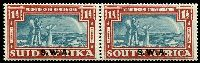 Lot 4394 [1 of 2]:1938 Opts on Voortrekker SG #109-10 1d & 1½d in pairs, Cat £38.