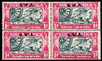 Lot 25490 [2 of 2]:1938 Opts on Voortrekker SG #109-10 1d & 1½d in blocks of 4, Cat £76.