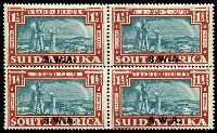 Lot 25490 [1 of 2]:1938 Opts on Voortrekker SG #109-10 1d & 1½d in blocks of 4, Cat £76.