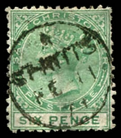 Lot 4366:1870-72 QV Wmk Crown/CC Perf 12½ SG #5 6d green.