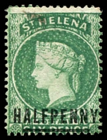 Lot 24885:1884-94 QV Wmk Crown/CA Perf 14 SG #34 ½d emerald, Cat £25.