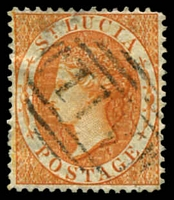 Lot 4373:1864-76 Wmk Crown/CC Perf 14 SG #18a (1/-) deep orange, Cat £16.