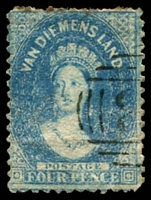 Lot 2216:1863-71 Chalon Wmk Double-Lined Numeral Walsh & Sons Perf 12 SG #73 4d blue, P12.