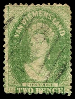 Lot 2215:1863-71 Chalon Wmk Double-Lined Numeral Walsh & Sons Perf 12 SG #71 2d yellow-green, Cat £95.