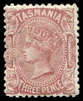 Lot 1804:1880-91 Sideface Wmk TAS Perf 12 SG #165 3d red-brown.