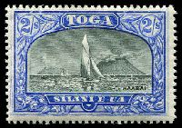 Lot 4212:1897 Pictorials Wmk Turtles SG #51a 2/- black & ultramarine, Cat £32.