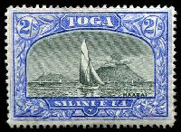 Lot 4436:1897 Pictorials Wmk Turtles SG #51a 2/- black & ultramarine (pale), Cat £32.
