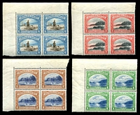 Lot 4495:1935-37 Pictorials SG #230a-3a 1c to 6c in TLC blocks of 4 all perf 12½, hinged in margin only, Cat £75++.
