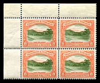 Lot 4496:1935-37 Pictorials SG #234 8c in TLC blocks of 4 perf 12, hinged in margin only, Cat £15++.