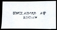 Lot 2709:Redan: - straight-line 'UNCLAIMED AT/REDAN' (1999?) on piece.  PO 1/7/1935; LPO 1/9/1993.