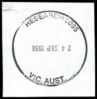 Lot 17021:Research: - WWW #60b, 38mm 'RESEARCH 3095/24SEP1996/VIC. AUST.' (dateline inverted) on piece. [Rated PPP - only recorded as a last day cancel.]  PO 20/10/1902; LPO 1/6/1994.