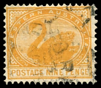 Lot 3349:1902-12 Wmk V/Crown Perf 12½ or 12½x12 SG #122a 9d yellow-orange Wmk Upright.