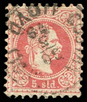 Lot 3689:1867-83 Franz Joseph Coarse Printing SG #3 5s red, Cat £18.