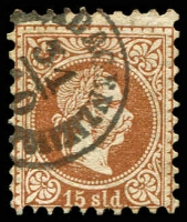 Lot 3690:1867-83 Franz Joseph Coarse Printing SG #5a 15s red-brown, Cat £22.