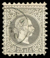 Lot 3691:1867-83 Franz Joseph Coarse Printing SG #6a 25s grey-lilac, Cat £90.