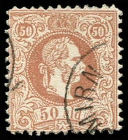 Lot 3692:1867-83 Franz Joseph Coarse Printing SG #7a 50s brown P10½, Smirna cancel, Cat £85.