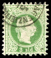 Lot 3694:1867-83 Franz Joseph Fine Printing SG #9 3s green, Cat £38.
