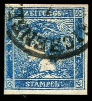 Lot 3672:1851 Mercury: SG #N11b (0.6k) blue type II, Cat £160.