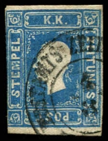 Lot 3674:1858-59 Franz Josef: SG #N28 (1k05) blue 2 good margins, 2 close or touching, Cat £900.