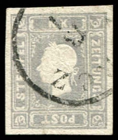 Lot 3675:1858-59 Franz Josef: SG #N29a (1k05) grey-lilac 4 good margins, creased, Cat £475.