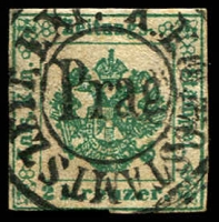 Lot 3678:1853 Imperial Journal: 2k green 3-margins, 1 touching, SG #J15, Cat £120.