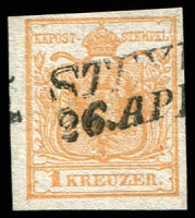 Lot 3650:1850 Arms Hand-Made Paper SG #1ba 1k brown-orange type I 4 margins, Cat £900, Macoveanu certificate (1980) & Ferchenbauer certificate (1988).