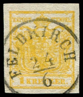 Lot 3651:1850 Arms Hand-Made Paper SG #1ca 1K yellow type III 4 margins fine 'FELDKIRCH/24/6' cancel, Cat £190. Ferchenbauer certificate (1988) for kadmiumgelb.