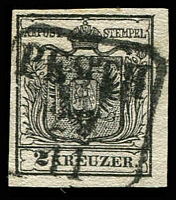 Lot 3653:1850 Arms Hand-Made Paper SG #2d 2k black Type III 4 margins, Cat £110.