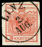 Lot 3654:1850 Arms Hand-Made Paper SG #3 3k red, Type I, 4-margins, fine 'LINZ/2./AUG.' cancel.