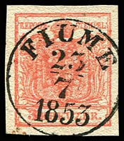 Lot 3655:1850 Arms Hand-Made Paper SG #3d 3k red, Type III, 4-margins, fine 'FIUME/23/7/1853' cancel.