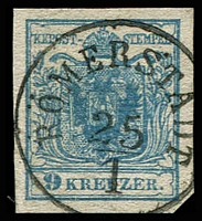 Lot 3657:1850 Arms Hand-Made Paper SG #5b 9k blue Type IIc 4 margins, fine 'RÖMERSTADT/25/1' cancel.