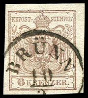 Lot 3665:1854 Arms Machine Paper SG #8a 6k brown, Type III, 4-margins, fine 'BRÜNN/10/3' cancel.