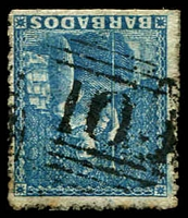 Lot 3360:10: BN of St Peter on (1d) blue rough perf (SG #23).