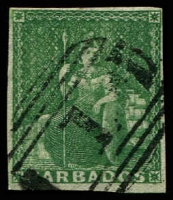 Lot 3335:1855-58 Britannia on White Paper SG #8 (½d) green 4 margins, 1 close, Cat £200.