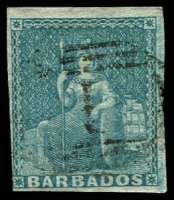 Lot 19334:1855-58 Britannia on White Paper SG #9, (1d) pale blue 4 margins, 1 just touching, Cat £70.