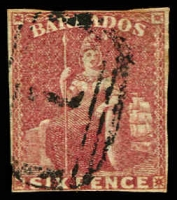 Lot 3337:1858 Britannia on White Paper SG #11a 6d deep rose-red 3 close margins, Cat £180.