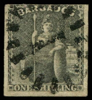 Lot 19338:1858 Britannia on White Paper SG #12a 1/- black 3 good margins, Cat £180.