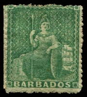 Lot 3339:1861-70 Britannia No Wmk, Rough Perf 14-16 SG #21 (½d) green, MNG, Cat £29.