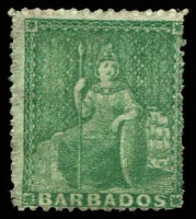 Lot 20116:1861-70 Britannia No Wmk, Rough Perf 14-16 SG #21a (½d) blue-green, MNG, Cat £55.