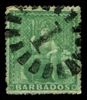 Lot 3340:1861-70 Britannia No Wmk, Rough Perf 14-16 SG #21a (½d) blue-green, 1 pulled perf, Cat £75.