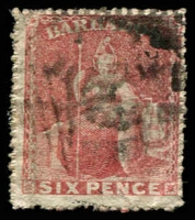 Lot 20119:1861-70 Britannia No Wmk, Rough Perf 14-16 SG #29 6d rose-red, Cat £24.