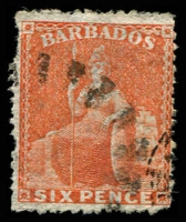 Lot 3342:1861-70 Britannia No Wmk, Rough Perf 14-16 SG #30 6d orange-red, shallow thin, Cat £32.