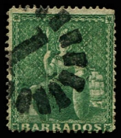 Lot 3338:1861 Britannia Clean-Cut Perf 14-16 SG #17 (½d) deep green, Cat £22.